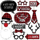 Prancing Plaid Holiday - バッファロー格子柄クリスマス写真ブース小道具キット - 20カウント