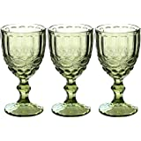 Wine Glasses Set of 3 Colored Water Goblets 10 OZ Wedding Party Red Wine Glass for Juice Drinking Embossed Design (Green)