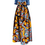 Womens African Floral Maxi Skirt A Line High Waist Long Skirts Ball Gown