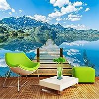 Bzbhart テレビの背景装飾画、壁用ステッカーカスタマイズ任意のサイズの写真壁画3Dの壁紙湖の反射木製の橋風景壁布リビングルームテレビホームデコレーション-200cmx140cm