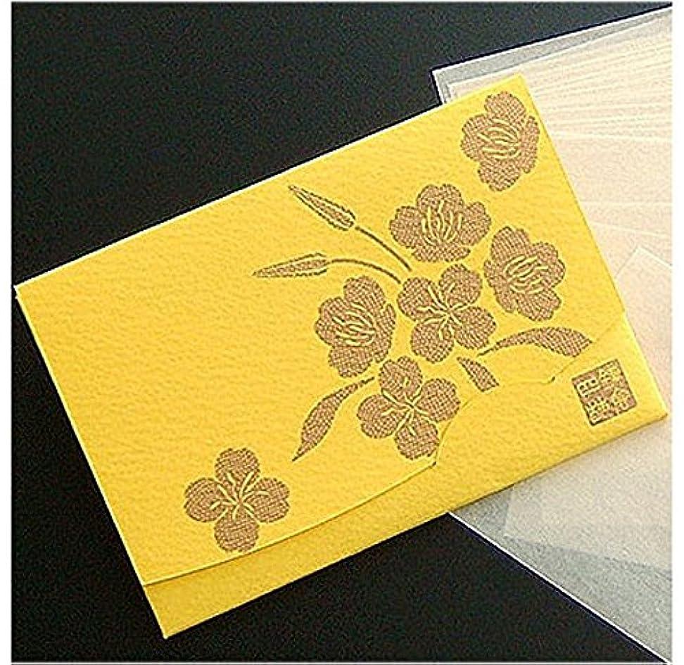 アコード布考古学者季節の花 月見草(黄) 「絹すき」 短冊サイズ