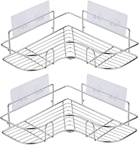 浴室ラック コーナーラック シャンプー調味料収納 ステンレス鋼 強力粘着固定 15kg荷重 水切り 壁掛け棚 スパイスラック お風呂 洗面所 キッチン 台所収納ラック 多機能 2段式