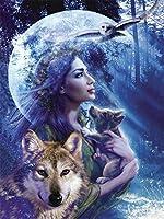LIPHISFUN オオカミと女の子ダイヤモンド刺繍DIYダイヤモンド絵画スクエアドリルラインストーンペーストクロスステッチ工芸針(30x40cm)