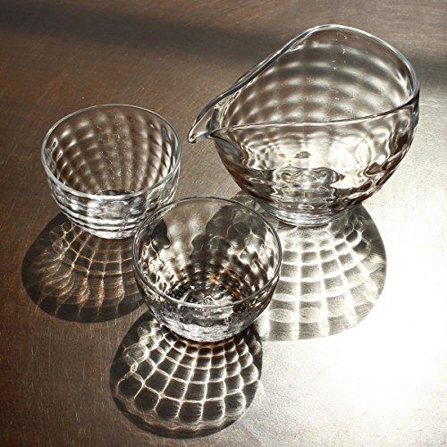 glass calico グラスキャリコ ハンドメイド ガラス酒器 澄 (すみ) 冷酒器セット (片口・ぐい呑 2個)