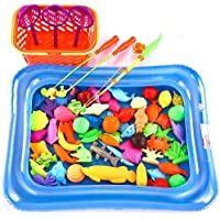 O-Toys 67 Pieces Fishing Toy Bath Magnetic Toys Waterproof Floating Fish Playsets with Pool Learning Education Toy Set for Kids (Pool Color in Random) [並行輸入品]