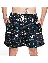 男性 水泳 ショーツ 速乾性 印刷 ビーチ ショーツ カジュアル エクササイズ ショーツ 夏の季節 男性 水着 (Size : XL)