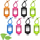 8 PCS Hand Sanitizer Holder, 60ml/2oz Travel Bottles with Keychain Silicone Sleeve, Empty Leakproof Squeeze Containers with F