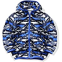 M2C Boys Shark Print Outwear Hooded Waterproof Lightweight Jacket