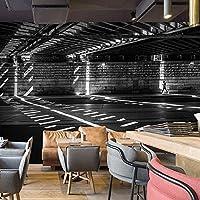 zljtyn異なるサイズ連絡し[ US ] 3dレトログラフィティ壁紙工業風拡張スペーストンネルフレスコレストランカフェ壁紙リムーバブル壁画自己粘着Large壁紙