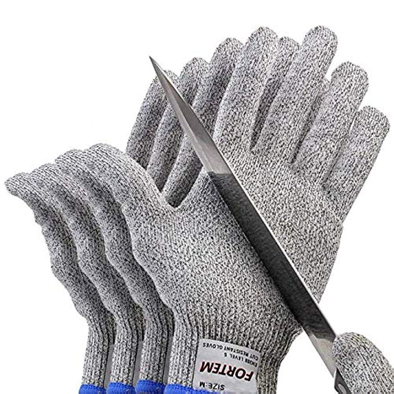 もつれ想定フレキシブルカット性手袋、レベル5の保護、食品グレード、EN388認定(2ペア),S