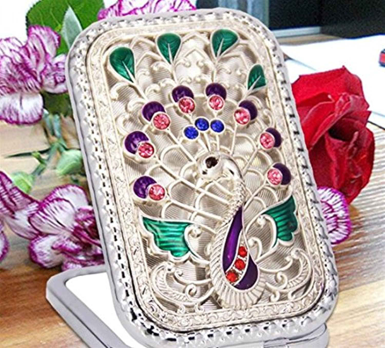 HuaQingPiJu-JP クラフト装飾のためのミニ長方形形状の孔雀パターン化粧鏡小ガラスミラー