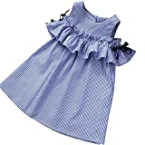 Cutelove 子供ドレス ワンピース 女の子 ストラップレス 半袖 ストライプ 可愛い 夏 赤ちゃん 素敵 おしゃれ ドレス