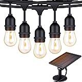 Solar String Lights - 48 ft S14 LED Outdoor IP65 Commercial Grade S14 Heavy Duty Festoon String Light 15 Hanging Sockets with