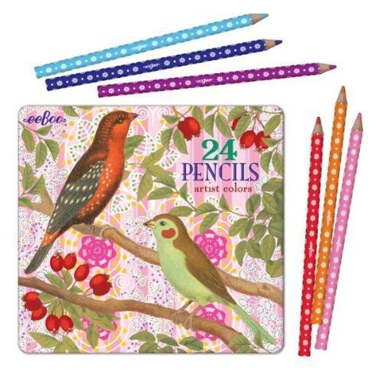 eeBoo Birds with Berries Colored Pencils in Tin Case, Set of 24 by eeBoo