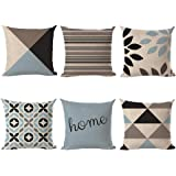 LLQUS Set of 6 Cushion Covers 18x18 inch/45x45cm, Cotton Linen Throw Pillow Cases, Printed Geometry Square Pillow Covers for