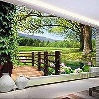 Xbwy カスタム3D写真の壁紙田舎風景壁高木プール蓮の壁壁画写真壁紙リビングルームの壁の装飾-150X120Cm