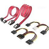 ELUTENG SATAケーブル + 電源ケーブル 4点セット L型 4 Pin デュアル 15 Pin SATA 電源ケーブル SATA3 高速 6Gbps 15 Pin 分岐デュアル15 Pin SATAケーブル セット 内臓HDD シリアルAT