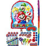 Party City スーパーマリオピニャータキット 誕生日パーティー用 バット、目隠しと48個のお楽しみパック付き