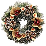 クリスマスリース リボン付き クリスマス ポインセチア リース 壁 プレゼント クリスマス雑貨 壁掛け B(45cm)