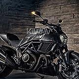 KiWAV Magazi ルシファー Lucifer バイクミラー バックミラー 黒 ツートンカラーのLED(琥珀色と白色) ヘッドライト ウインカー 左右セット 汎用