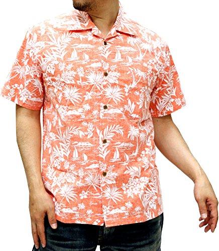 (ルーシャット) ROUSHATTE アロハシャツ 半袖 シャツ ハイビスカス 20柄 L オレンジ
