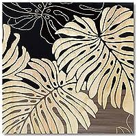 ウッドスカルプチャーアート【人気の手彫りアート】シンプルモダン<木製フレーム>ワイルド モンステラS (BK+NP)