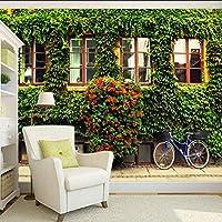 Xueshao 壁紙美しい緑の窓自転車テレビの背景装飾画リビングルームの寝室の壁紙壁画-400X280Cm