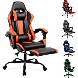 ALFORDSON Gaming Chair Racing Chair Executive Sport Office Chair with Footrest PU Leather Armrest Headrest Home Chair Orange