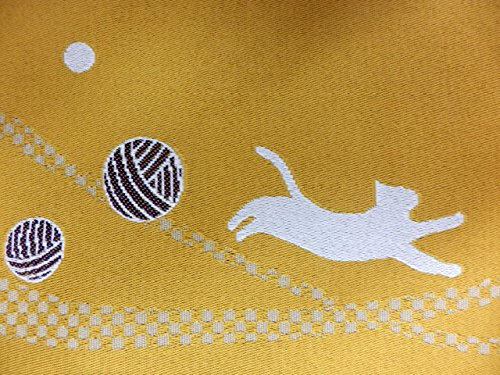 半幅帯 半巾 細帯 浴衣帯 四寸帯 リバーシブル四寸帯 日本製 カラシ地 糸巻き ネコ 柄 no2928