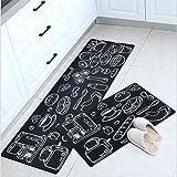 Non-Slip Mat Kitchen Bathroom Door Carpet Floor Rug PVC Waterproof Anti-Oil Indoor Home (45cm*120cm, Black Kitchen)
