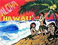 """ハワイの絵画 Aloha Hula Girls (8"""" x 10"""") by Drew Toonz"""