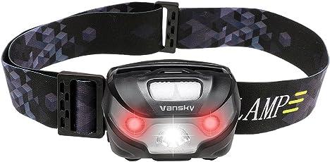 Vansky ヘッドライト 超強力LEDヘッドランプ 登山ヘッドランプ 5つモード 赤色付き IPX4防水 軽量 USB充電式 キャンプ/お釣り/ハイキングなどアウトドア活動に適用