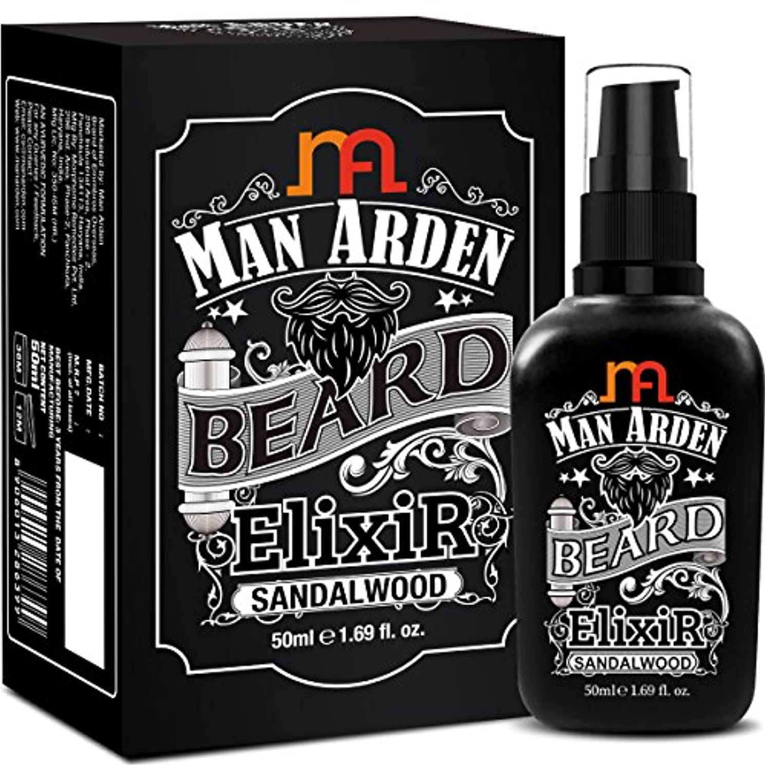 フリルカレンダーレベルMan Arden Beard Elixir Oil 50ml (Sandalwood) - 7 Oils Blend For Beard Repair, Growth & Nourishment8906013286399