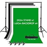 VOLKWELL Photo Backdrop Stand Kit Support System, 1.6M x 3M 4PCS Backdrop, 2M x 2M Adjustable Stand, Photography Non Woven Ba