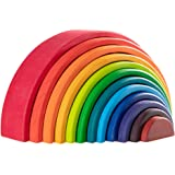 SWAGITLOUD MerryHeart Wooden Rainbow Stacking Toy, 12 Pcs Wood Building Blocks Set, Waldorf Toys for Toddlers, Matching Educa