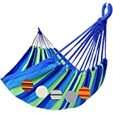 (Blue/Green Stripe) - GOCAN Brazilian Double Hammock 2 Person Extra Large Canvas Cotton Hammock for Patio Porch Garden Backya