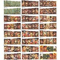 12パック/たくさん水デカールネイルアートネイルステッカースライダーフルカバーオイルペインティングフラワーヴィンテージ花瓶ローズピオニーUP49-60