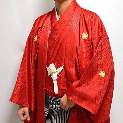 卒業式・成人式・結婚式 男性メンズ紋付羽織・着物2点セット 5サイズ7色/6号 赤