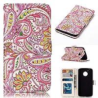モトg 5 puレザーケース、スタンドのカードスロット磁気閉鎖保護カバー5のモトと手作りの財布ケース (Pink Flower)