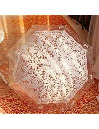 ホワイト印刷透明傘クリエイティブロングハンドル雨傘