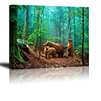 (Green & Brown Bear Wildlife Decor (12x16)) - Brown Bear Wall Art for Kids Room, PIY Cute Animal Canvas Painting of Mother and Cub in old-growth forest Picture, Adorable Family Wildlife Decor (2.5cm Thick, Waterproof, Bracket Mounted Ready to Hang)