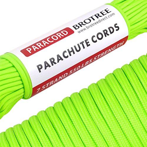 Brotree 4mm パラコード 30m テント ロープ 7芯 パラシュートコード ミルスペック 耐荷重 250kg(550LB) ガイロープ 100フィート 定番 迷彩柄キャンプ サバイバル アウトドア タープ用 強風対策固定用 自在金具パートナー