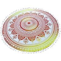 Mandala Round Towel Beach Luxury Outdoor Tapestry Flower Wall Cover 180cm Yellow Orange