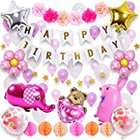 deerzon 女の子の誕生日飾り ガーランド 風船 花他90点セット2歳 ピンク バルーン ペーパーフラワー星