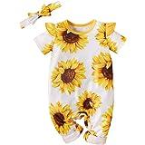 MTSLYH Infant Baby Girl Short Sleeve Sunflower Jumpsuit Ruffle Footless Romper+Headband