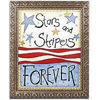 Stars and Stripes by Jennifer Nilsson、ゴールド装飾フレーム11x 14インチ