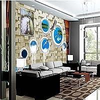 Sproud 壁画のモダンな背景のピーコックレンガドルフィンフレスコ画 De 剥き 3 D の壁紙がリビングルーム 400 Cmx 280 Cm のベッドルームホテルの壁画