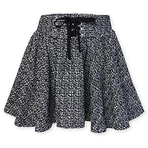 (グレー/160cm)子供服 女の子 スカート スカパン Dolly Ribbon sister ドーリーリボン ボトム ツイード レースアップ インナーパンツ付 リボン ウエストゴム入 女児 ジュニア