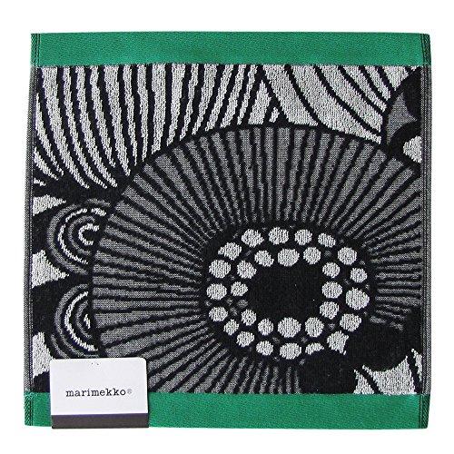 marimekko ハンドタオル ブラック グリーン ホワイト 30X30cm 68471 960