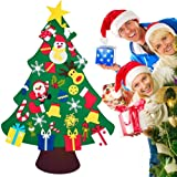 TERSELY DIY Felt Christmas Tree Set with 30 PCS Ornaments for Kids, Xmas Gifts, New Year Door Wall Hanging Christmas Decorati